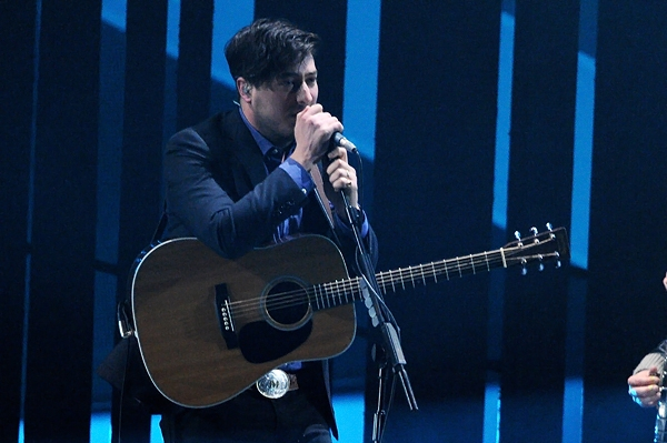 Marcus Mumford of Mumford and Sons performs at the BRIT Awards in London
